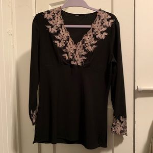 Tops - Back Blouse with Pink Lace Accents